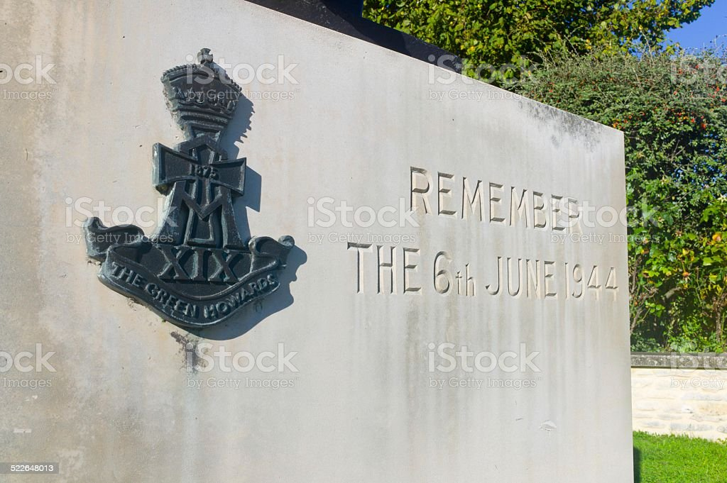 The Green Howards - Crepon Memorial, Normandy stock photo