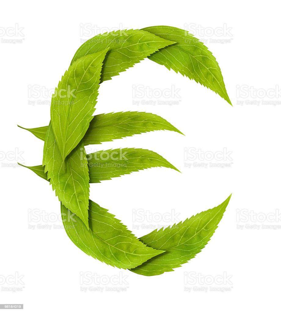 The green leaf Euro sign. royalty-free stock photo