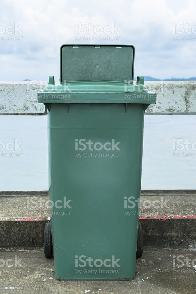 The green recycle garbage can stock photo
