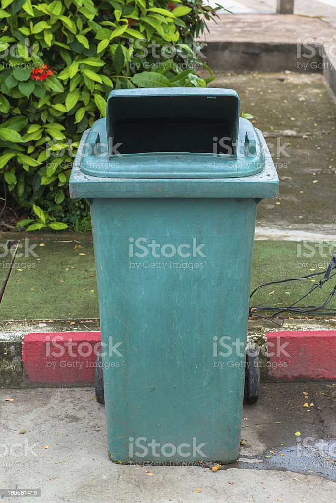 The green recycle garbage can royalty-free stock photo
