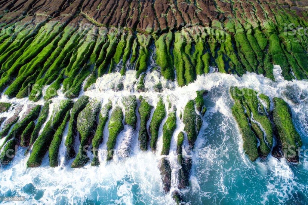 The green Reef on a sunny day, Taiwan, New Taipei - Foto stock royalty-free di Acqua