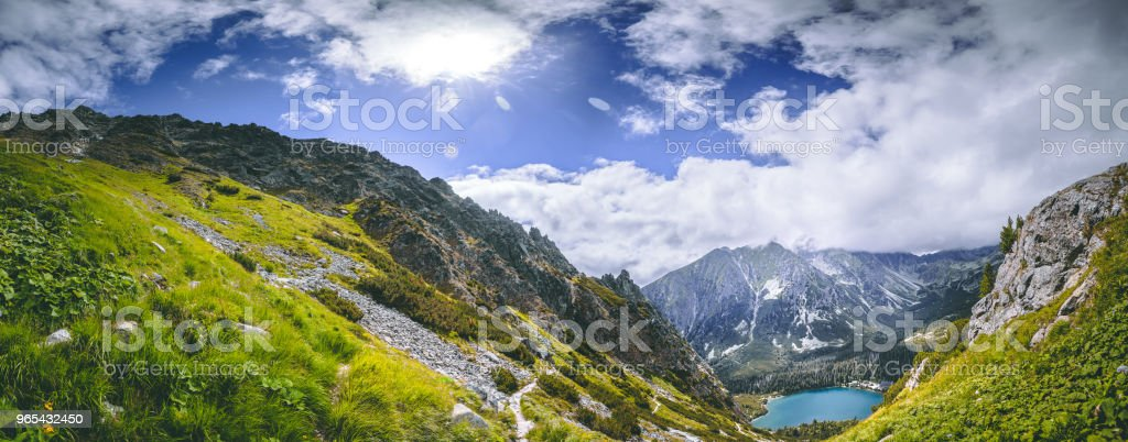 The green valley, Strbske Pleso lake. The Tatras royalty-free stock photo