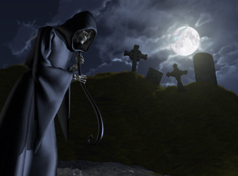 The Grim Reaper Stalks A Cemetery Stock Photo - Download ...