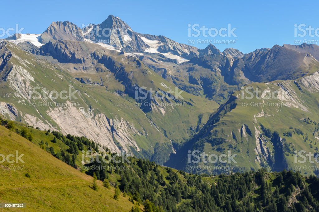 The Großglockner in the center of the austrian national park Hohe Tauern stock photo