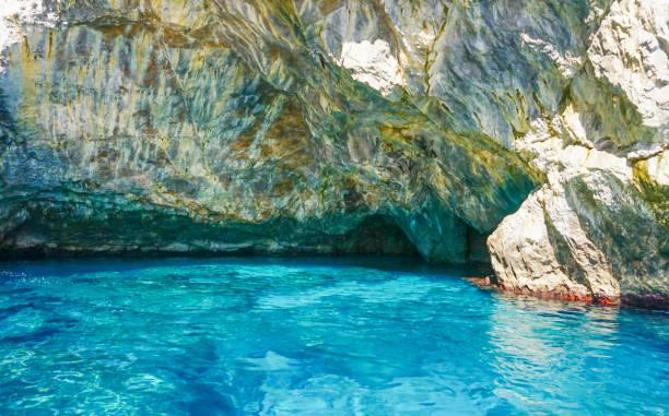 The Grotta Verde (Green Grotto) on the coast of Capri  Italy stock photo