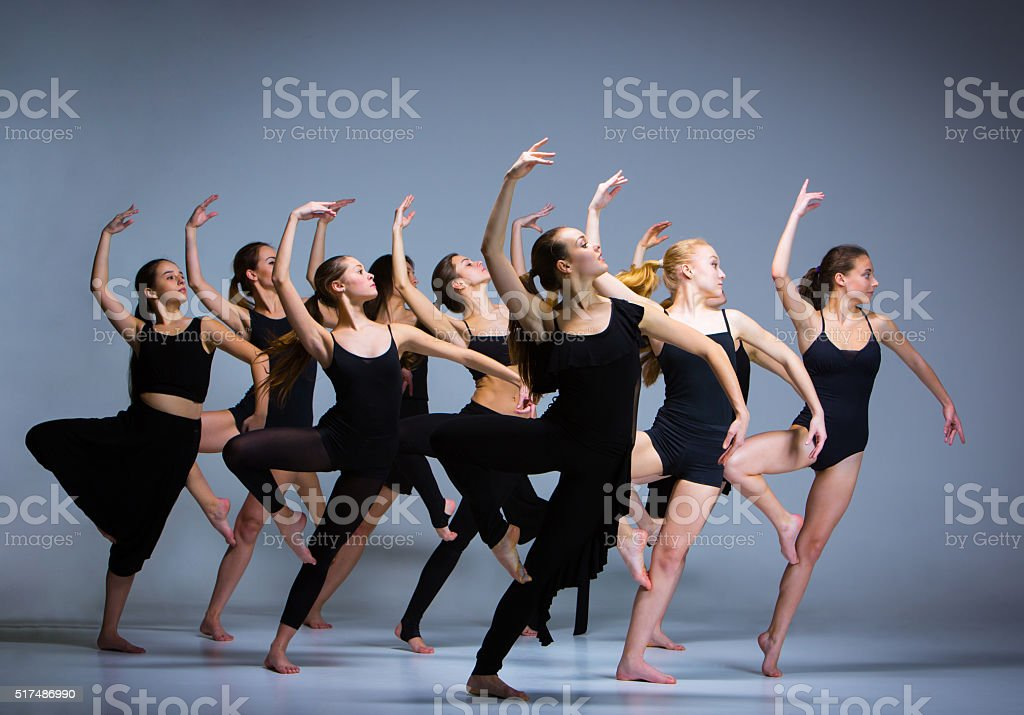 The group of modern ballet dancers stock photo