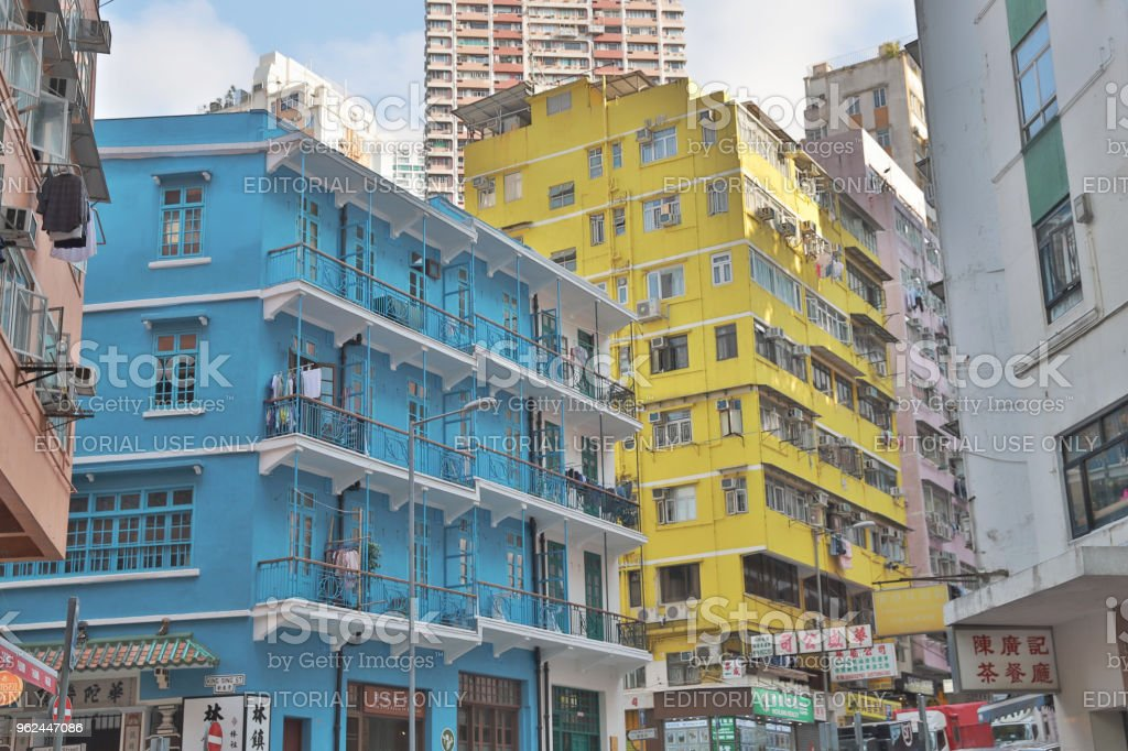 the group of tong lau at wan chai hk Exterior of Hong Kong old style house blue house Abandoned Stock Photo