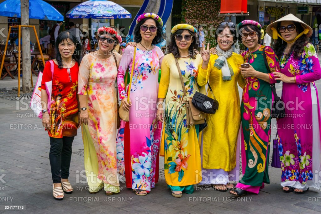 The group of women wear traditional clothes stock photo