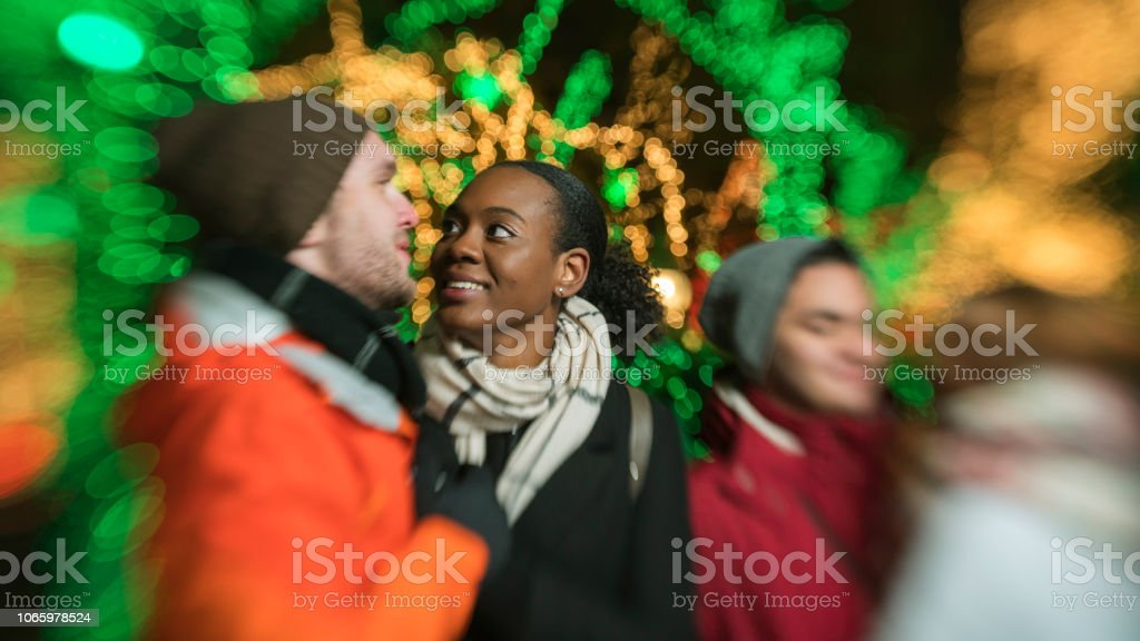 The group of young friends, include the inter-racial couple of Black beautiful woman and Caucasian white handsome man and teenagers, enjoying Christmas Lights in Brooklyn stock photo