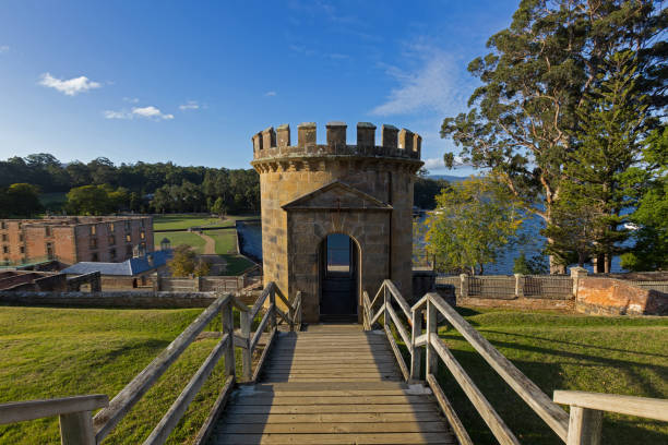 The Guard Tower as a ruin on Settlement Hill at Port Arthur Historic site in Tasmania, Australia stock photo