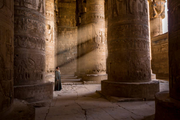 The guardian of the temple, Egypt stock photo