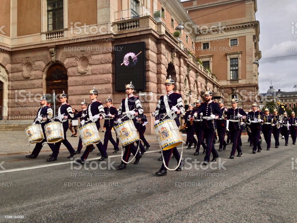 The Guard's Band Approaches the Royal Palace Stockholm stock photo