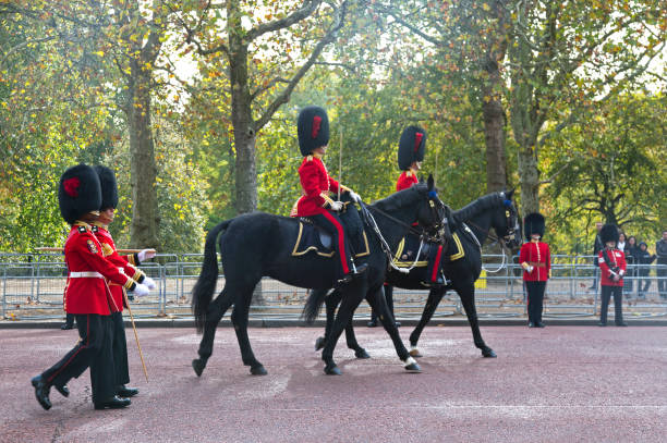 the guards of the Buckingham Palace during the traditional Changing of the Guard ceremony London United Kingdom stock photo