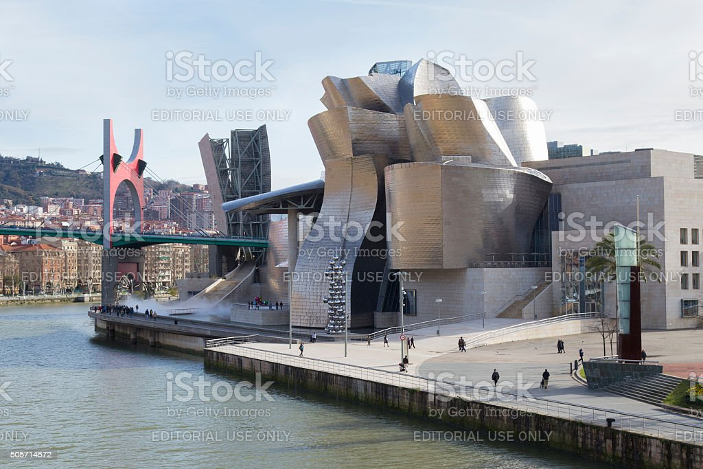 The Guggenheim Museum and the Nervion river. stock photo