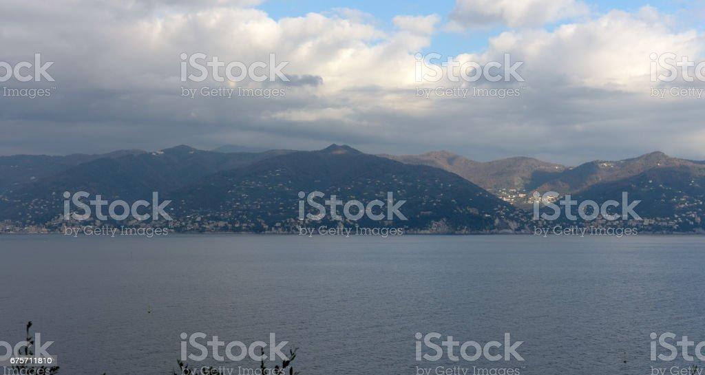 The gulf of Rapallo from Portofino 免版稅 stock photo