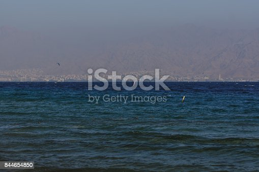 The gulf of the Red Sea surrounded with rocks and mountains