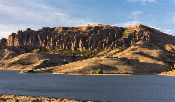 The Gunnison River becomes the Blue Mesa Reservoir. stock photo