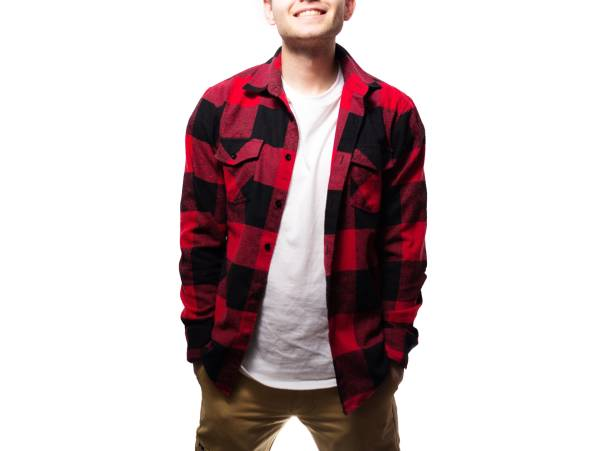 the guy, hipster in the black t-shirt,plaid red shirt  blank, sm the guy, hipster in the black t-shirt,plaid red shirt  blank, smiling on a white background, mock up plaid shirt stock pictures, royalty-free photos & images