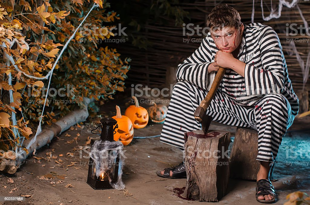 the guy in a suit for Halloween stock photo