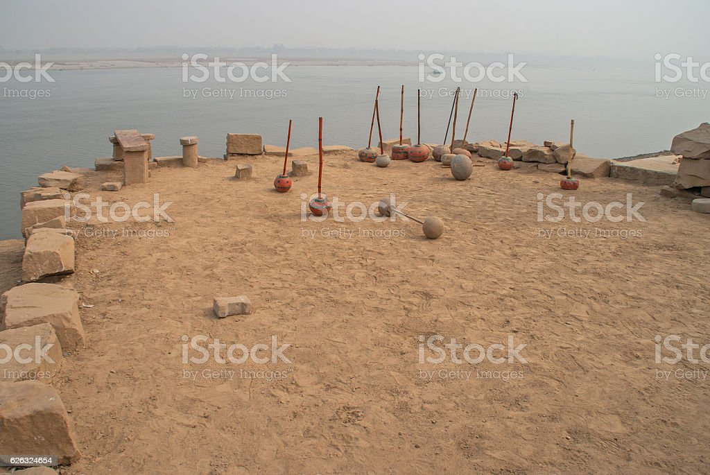 The gym on the bank of holy river Gang stock photo