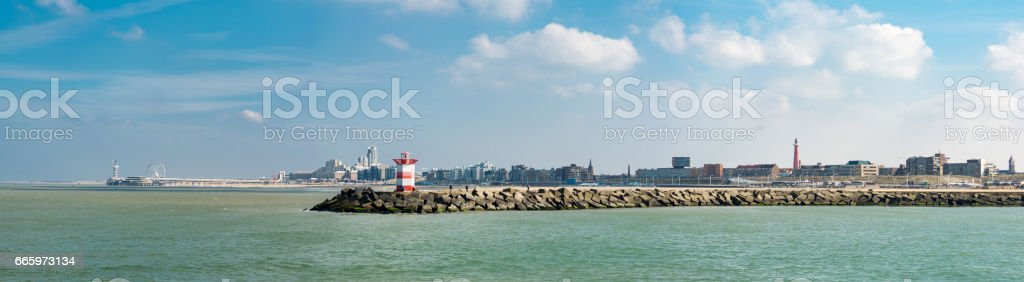 the hague beach and harbor panorama stock photo