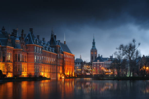 The Hague (Den Haag) city old town, Netherlands (Holland) in the evening stock photo