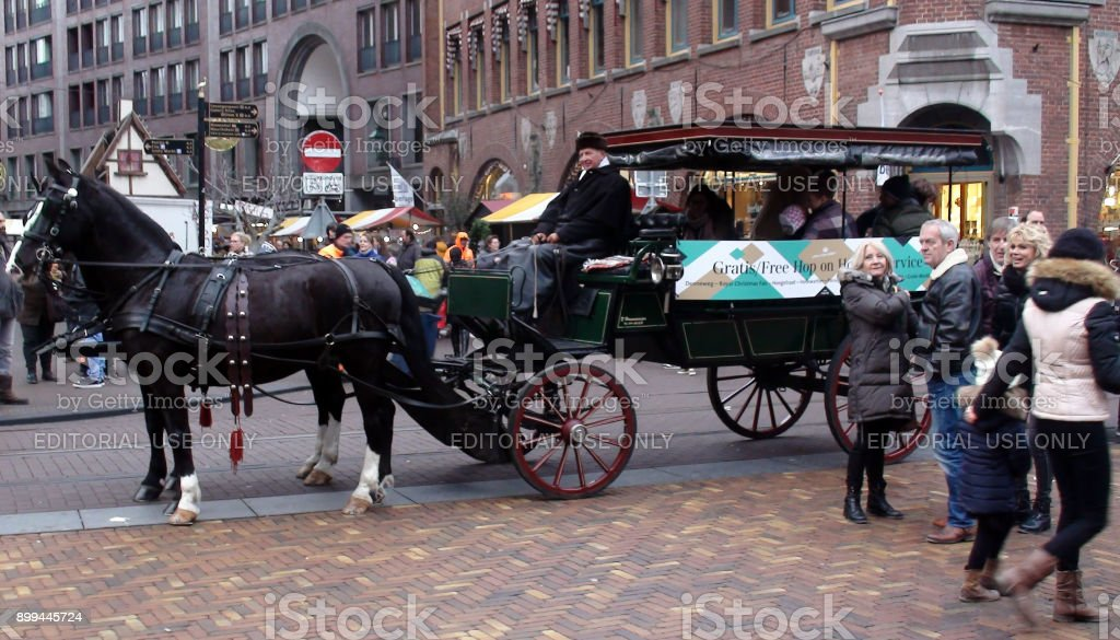 The Hague Free Hop On Hop Off Coach Horse Carriage And People Scene During Christmas Season In The Netherlands Stock Photo Download Image Now Istock