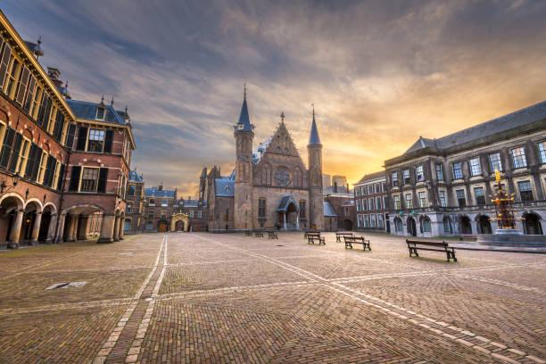 the hague, netherlands at the ridderzaal - den haag stockfoto's en -beelden