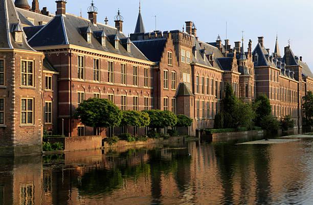 the hague parliament building near the water - den haag stockfoto's en -beelden