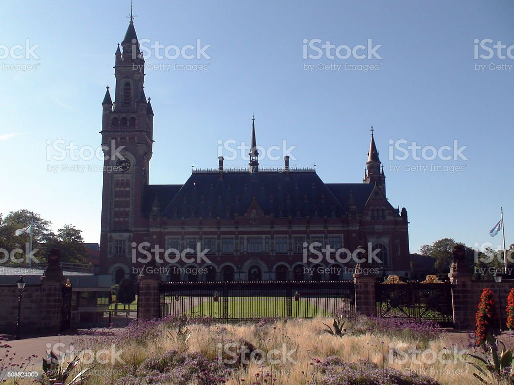 The Hague Peace Palace Building And Beautiful Summer Blue Sky stock photo