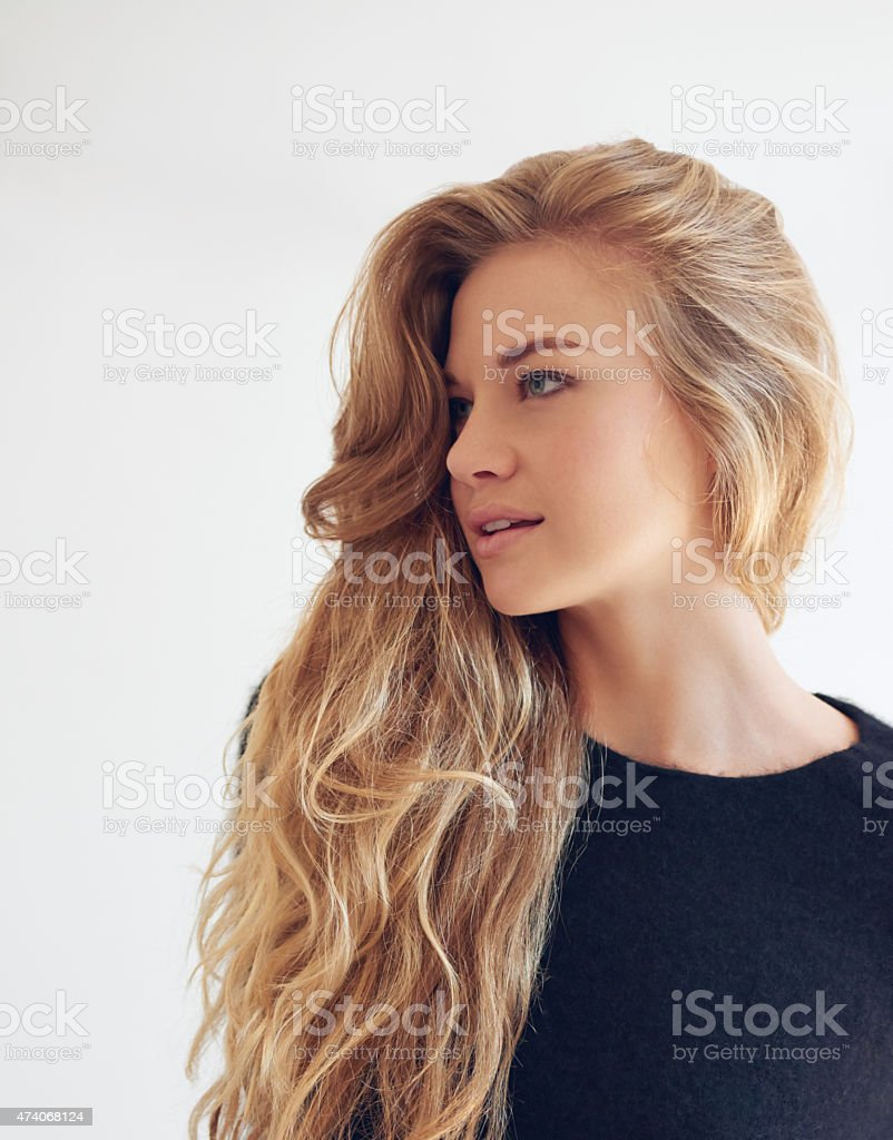 The hair is the richest ornament of a woman stock photo
