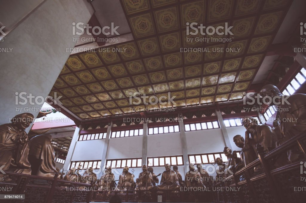 The Hall of Five Hundred Arhats in Lingyin temple stock photo