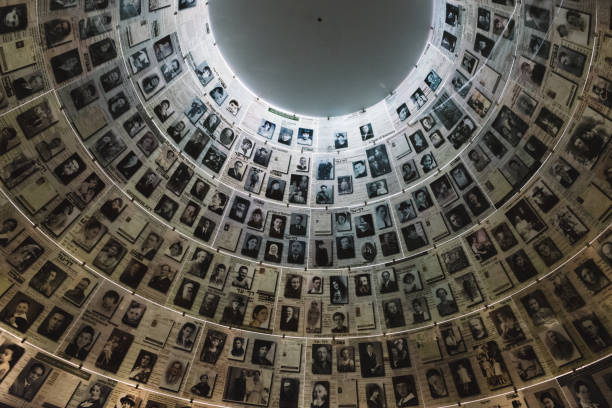 The Hall of Names in the Yad Vashem Holocaust Memorial Site in Jerusalem, Israel, remembering some of the 6 million Jews murdered during World War II stock photo