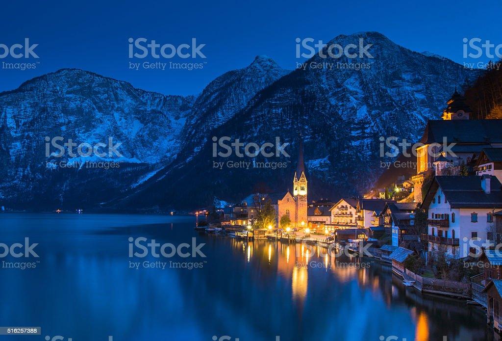The Hallstatt Village at dusk stock photo