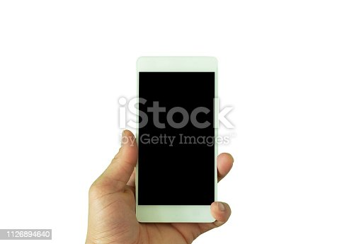 istock The hand carrying smartphone on isolate backgrounds 1126894640