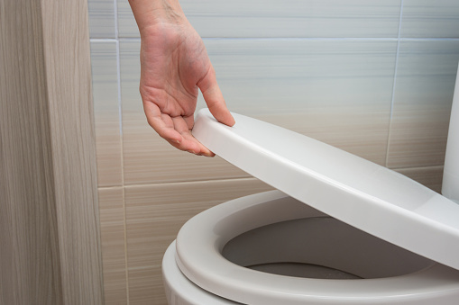 The hand closes or opens the toilet lid