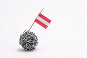 The hand made flag of the Austria on wire bal