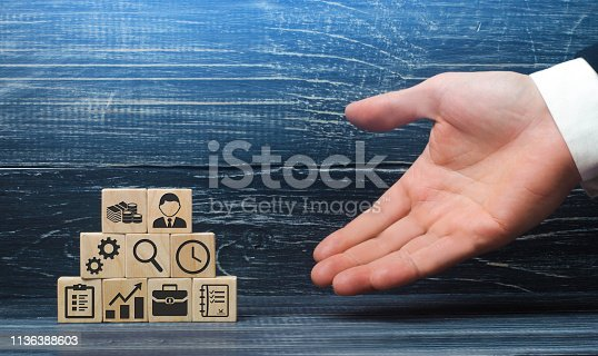 istock The hand of a businessman presents a recipe from business elements and attributes for a successful business. The correct construction and structure of the business, good leadership and innovation 1136388603