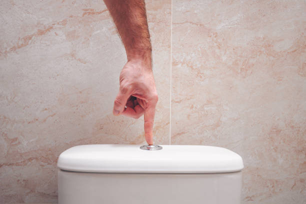 The hand presses the button on the toilet bowl, the economical drain The hand presses the button on the toilet bowl, the economical drain flushing toilet stock pictures, royalty-free photos & images