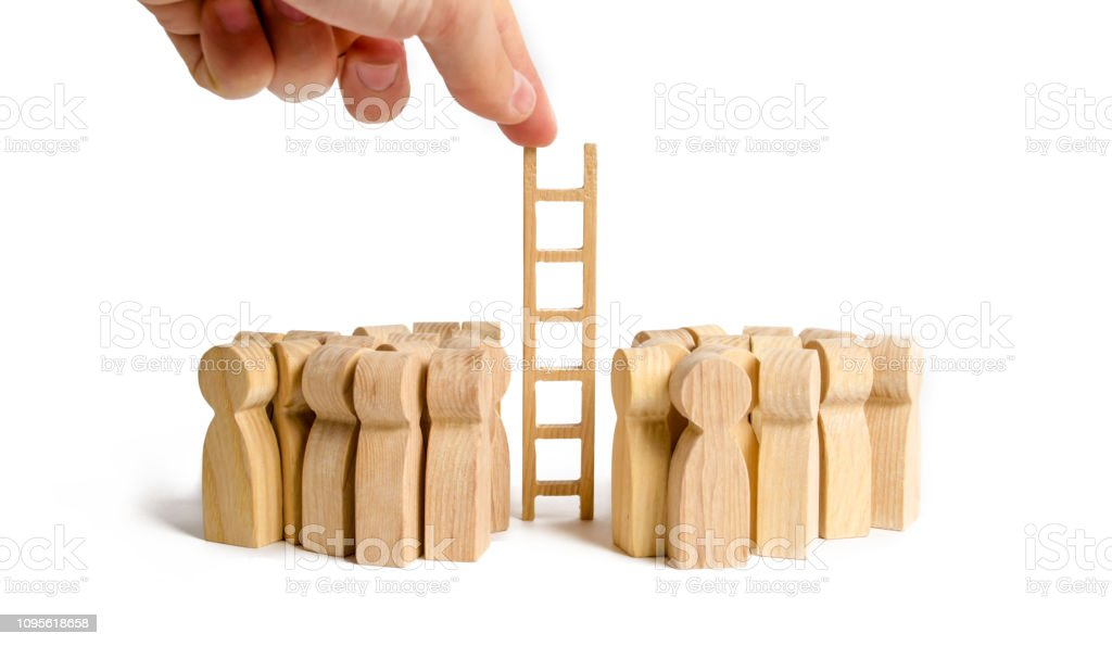 The Hand Stretches The Ladder To Two Opposing Groups Of