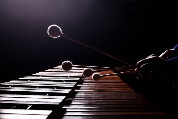 Die Hände der Musiker spielen die marimba – Foto