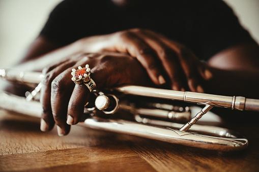 Trumpet, Player, vintage, dark, art, jazz, trumpet player, hand, luxury, jewelry, ring, close-up,