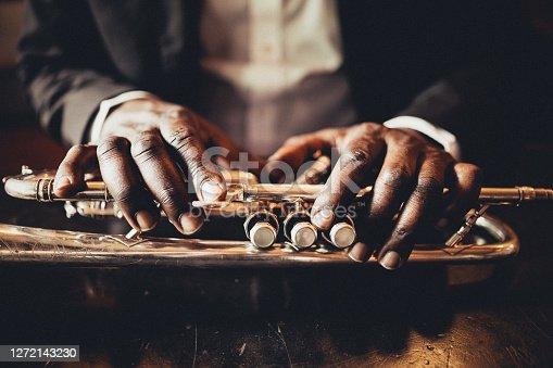 Trumpet, Player, vintage, dark, art, jazz, trumpet player, hand, luxury,