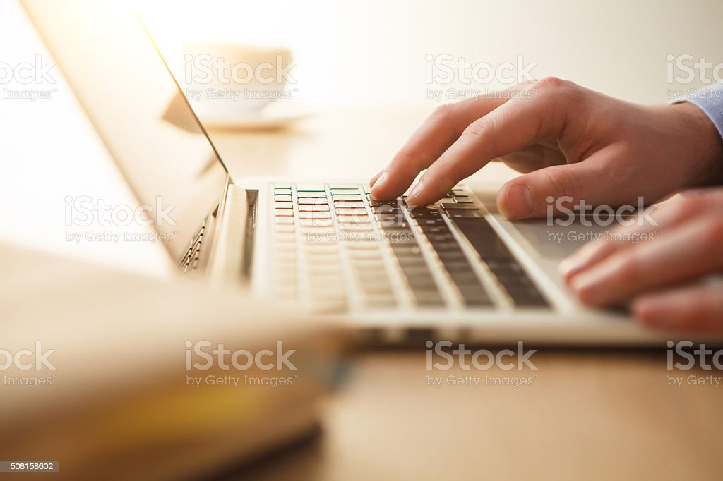 The hands on the keyboard stock photo