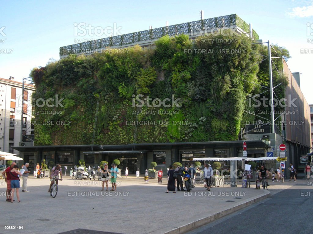 The Hanging Garden of the Halles d'Avignon stock photo