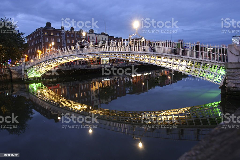 The Ha'penny bridge in Dublin stock photo