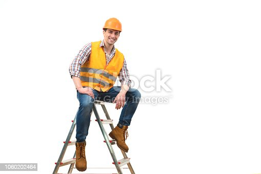 istock The happy builder sitting on the ladder on the white background 1060202464