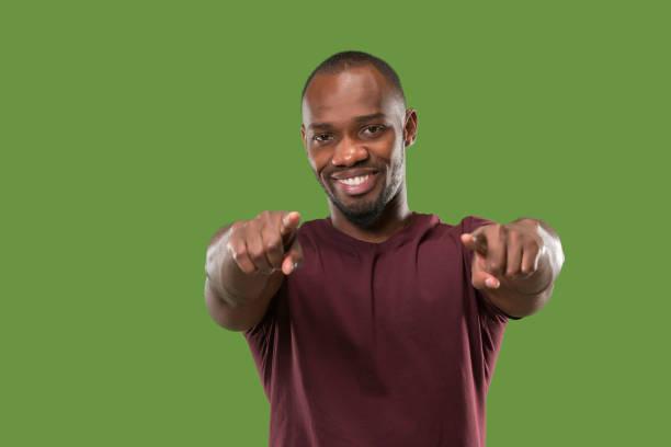 the happy business man point you and want you, half length closeup portrait - uwiedzenie zdjęcia i obrazy z banku zdjęć