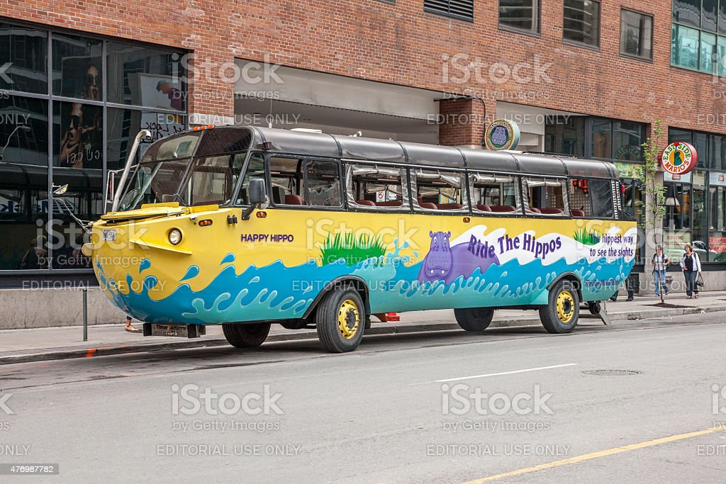 The Happy Hippo duck boat vehicle in Toronto stock photo