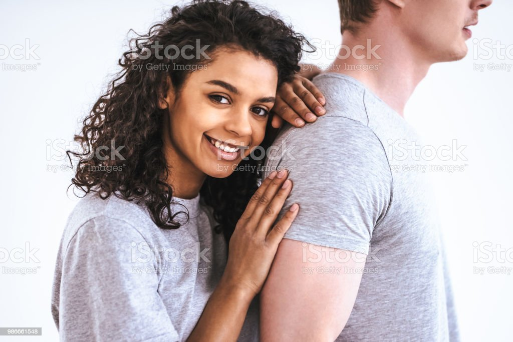 The Happy Man And A Woman Standing On The White Background Stock Photo - Download Image Now - iStock